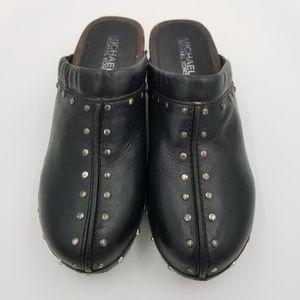 Michael Michael Kors Astor Black Leather Clogs